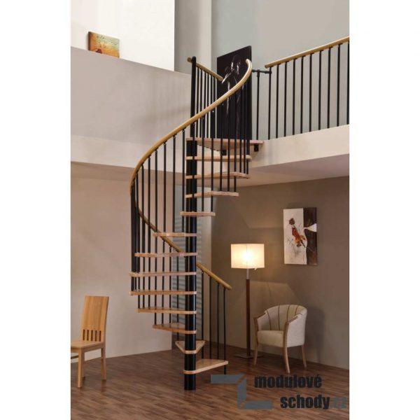 Modulove schodiste Minka Spiral Wood Black tocite schody svepomoci stavebnicove
